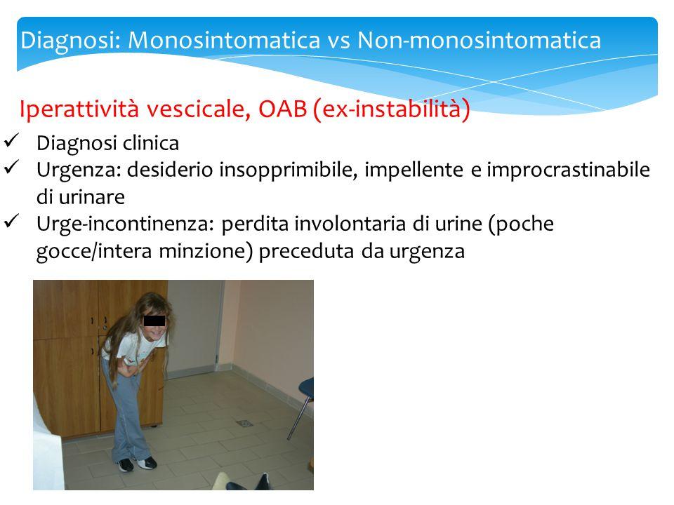Diagnosi: Monosintomatica vs Non-monosintomatica CHECKLIST ENURESI Nota Enuresi notturnaSINO Numero di notti bagnate/settimana Età >5 anniSINO Sintomi suggestivi di IPERATTIVITA' VESCICALE: -Gocce di urina nelle mutandine (prima/dopo la minzione) -Frequenza di minzione -Perdita di urine continua/intermittente -incontinenza urinaria di giorno dall'età di 3 aa 1/2 Suggestivi di enuresi NON- monosintomatica (NMNE) Frequenza urinaria (>8/die?)SINONMNE Urgenza urinaria?SINONMNE Manovre di autocontrollo?SINONMNE Uso dei muscoli addominali per favorire la minzione?SINONMNE Flusso urinario interrotto durante la minzione?SINONMNE Storia di infezioni delle vie urinarie?SINO Malformazioni note(reni/vie urinarie, midollo spinale)?SINONMNE Comorbidità: Stipsi.