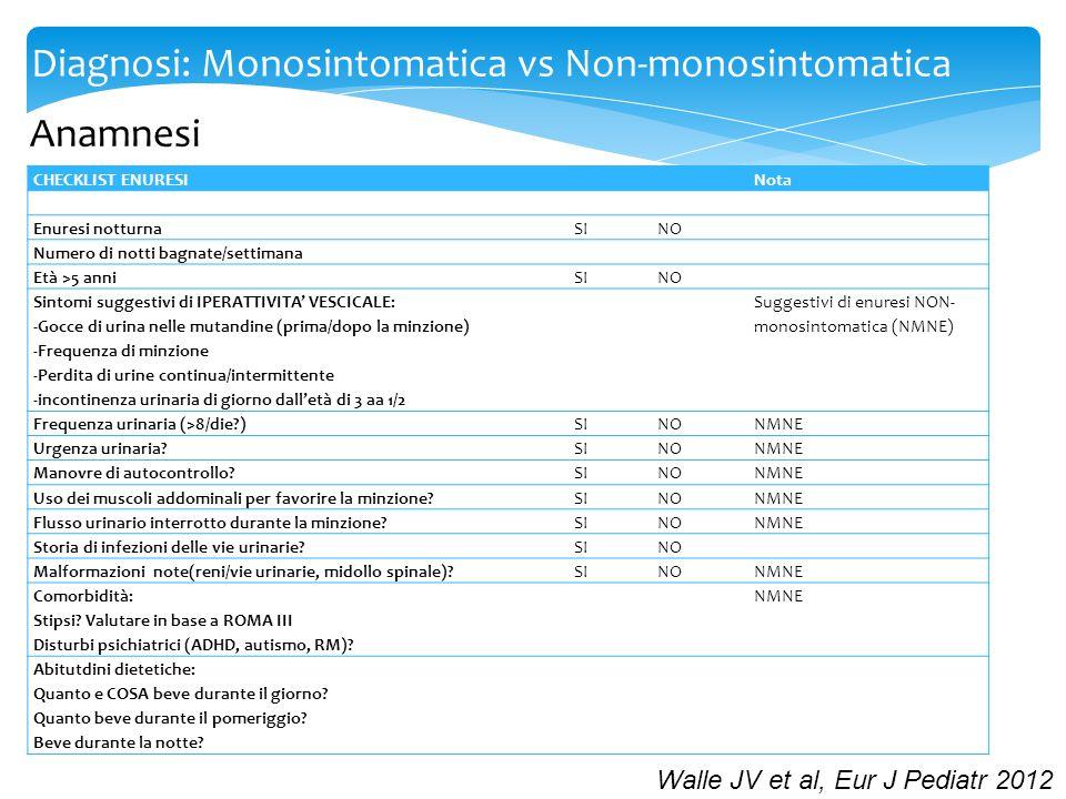 Diagnosi: Monosintomatica vs Non-monosintomatica Esame obiettivo Generalmente nella norma in pz con enuresi Particolare attenzione a: 1.Esame genitali esterni 2.Valutazione tratto lombosacrale 3.Esame neurologico 4.Corda colica/ampolla rettale piena