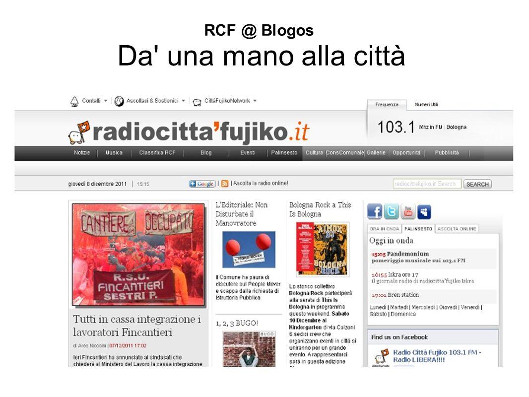 LA STORIA 1976 nasce RadioCittà stessa frequenza 103.1 stesso telefono 051 346458 1991 diventa RadioCittà 103 2000 nasce Radio Fujiko 2004 fusione è RCF 2012 RCF oggi un cooperativa di esperti della comunicazione multimediale organizzazione di eventi centro ricreativo culturale eterogeneo