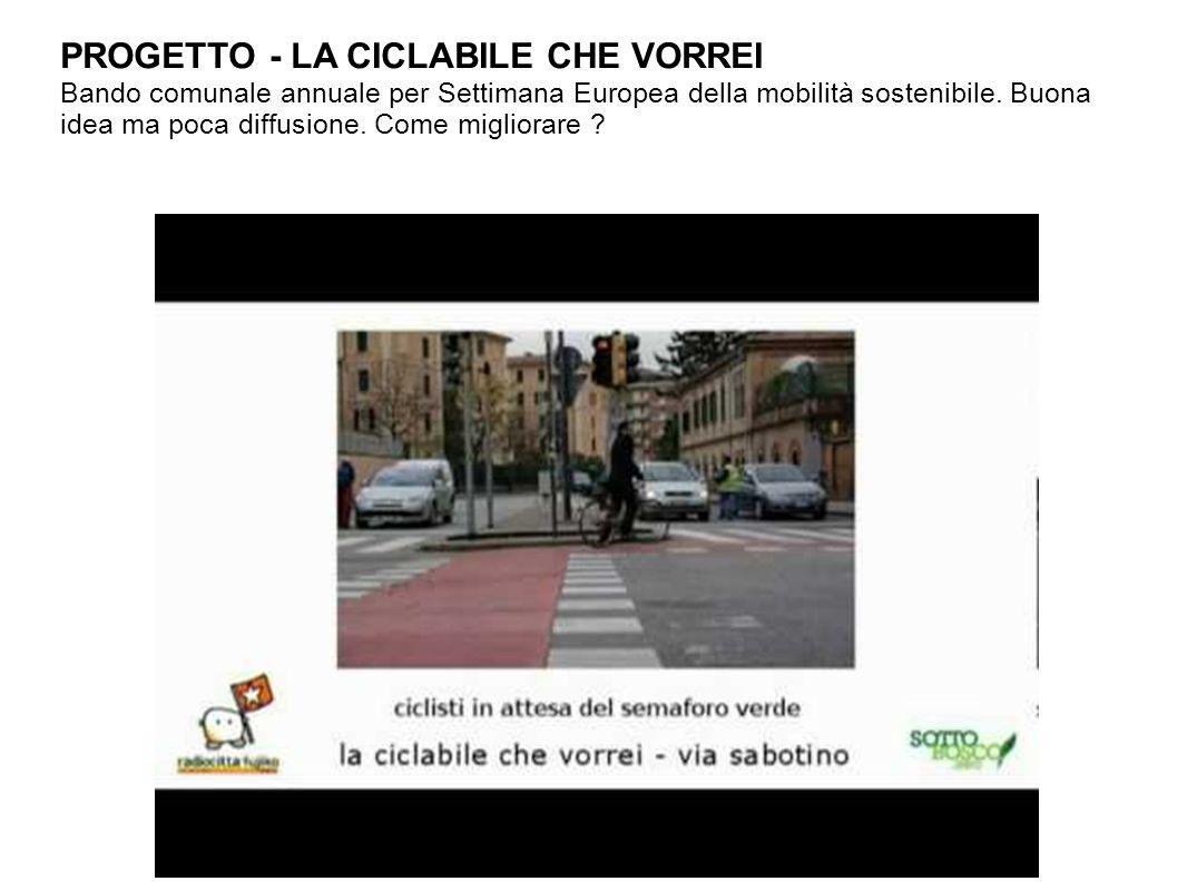 PROGETTO - LA CICLABILE CHE VORREI Bando comunale annuale per Settimana Europea della mobilità sostenibile.