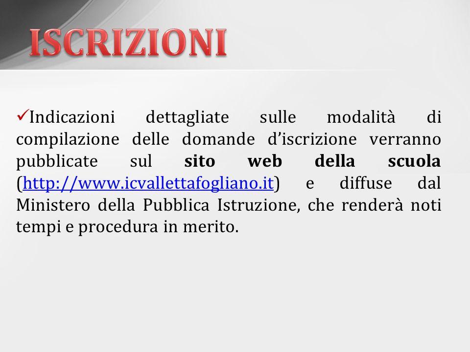 Indicazioni dettagliate sulle modalità di compilazione delle domande d'iscrizione verranno pubblicate sul sito web della scuola (http://www.icvalletta