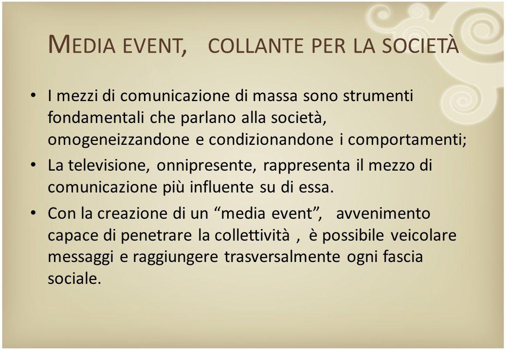 M EDIA EVENT, COLLANTE PER LA SOCIETÀ I mezzi di comunicazione di massa sono strumenti fondamentali che parlano alla società, omogeneizzandone e condi