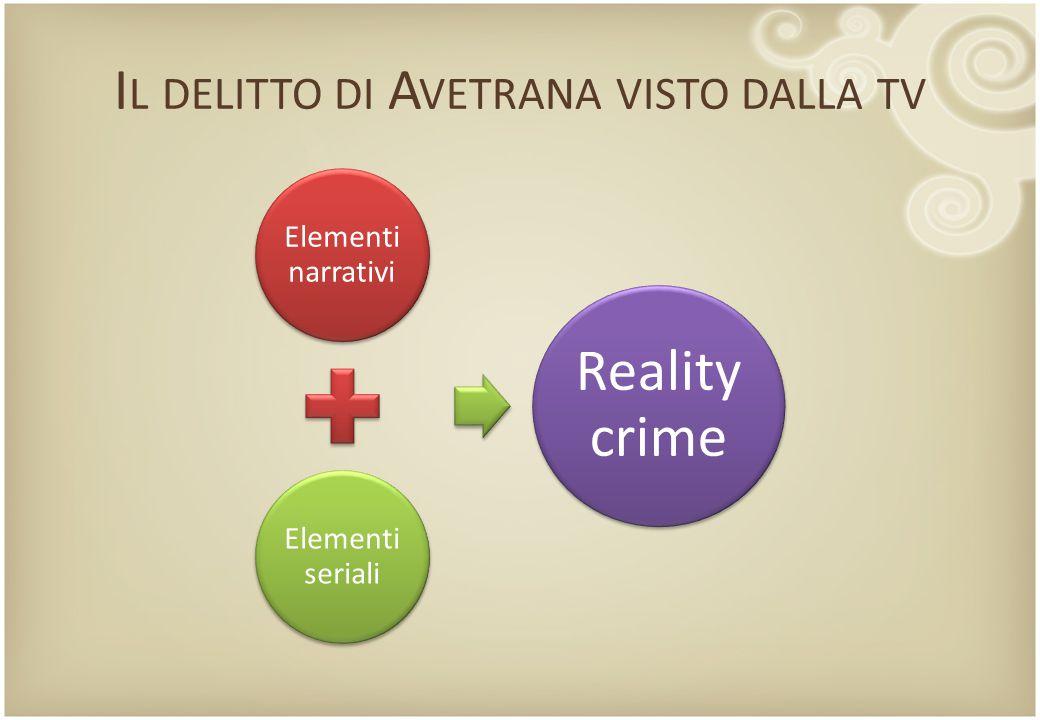 I L DELITTO DI A VETRANA VISTO DALLA TV Elementi narrativi Elementi seriali Reality crime