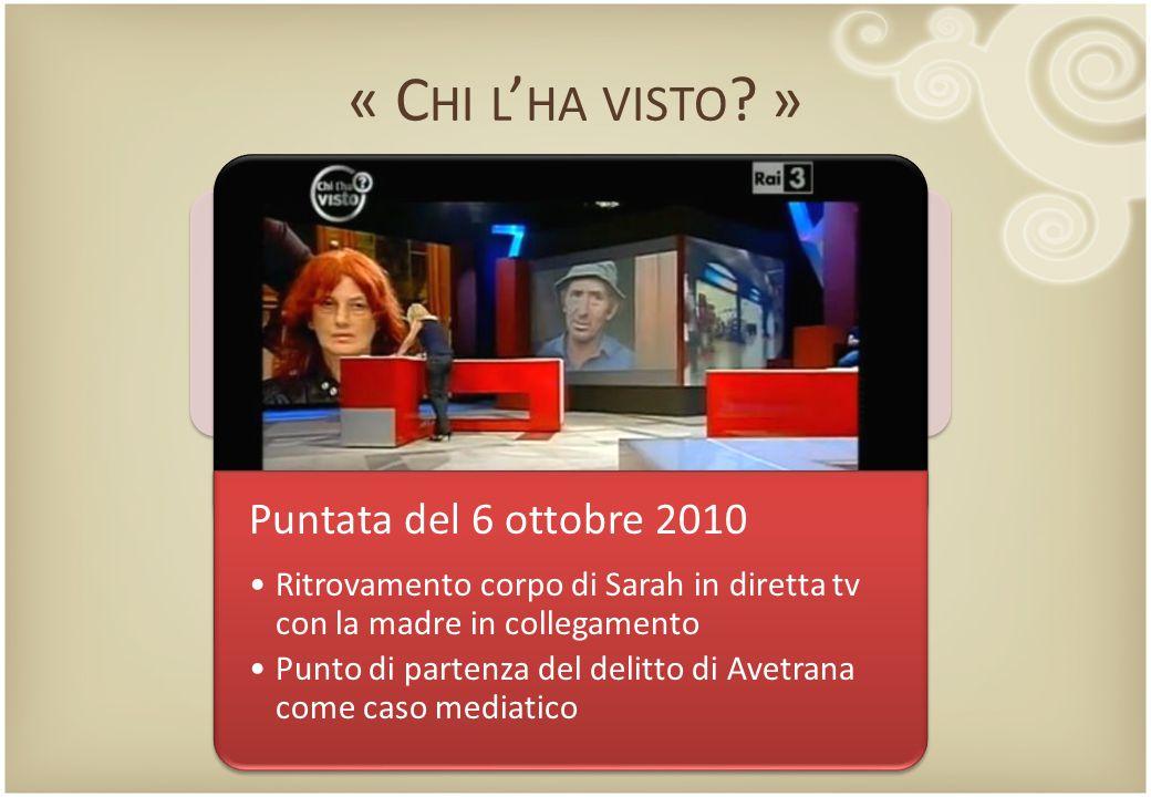 « C HI L ' HA VISTO ? » Puntata del 6 ottobre 2010 Ritrovamento corpo di Sarah in diretta tv con la madre in collegamento Punto di partenza del delitt