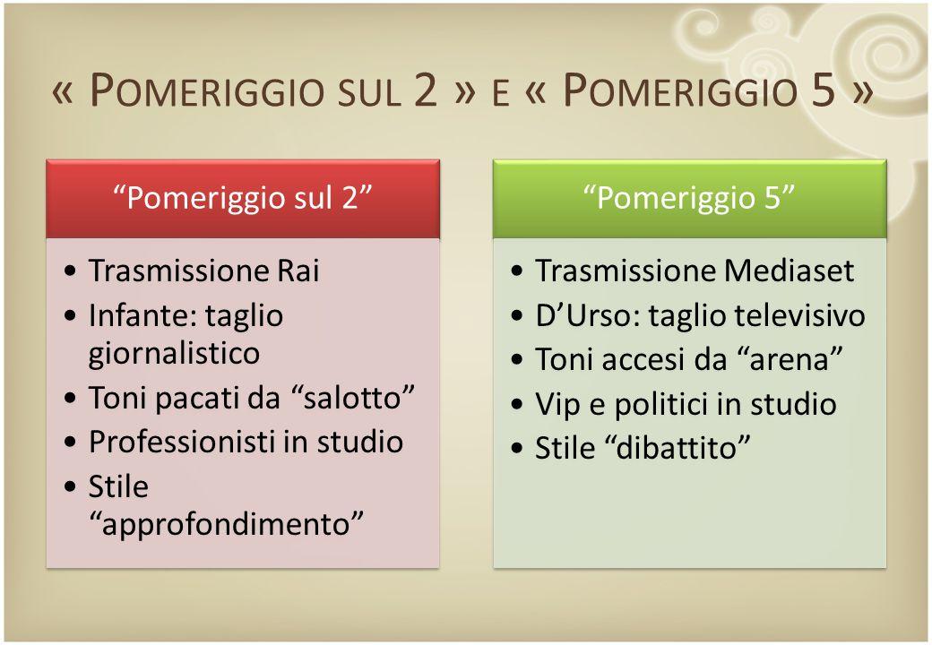 """« P OMERIGGIO SUL 2 » E « P OMERIGGIO 5 » """"Pomeriggio sul 2"""" Trasmissione Rai Infante: taglio giornalistico Toni pacati da """"salotto"""" Professionisti in"""