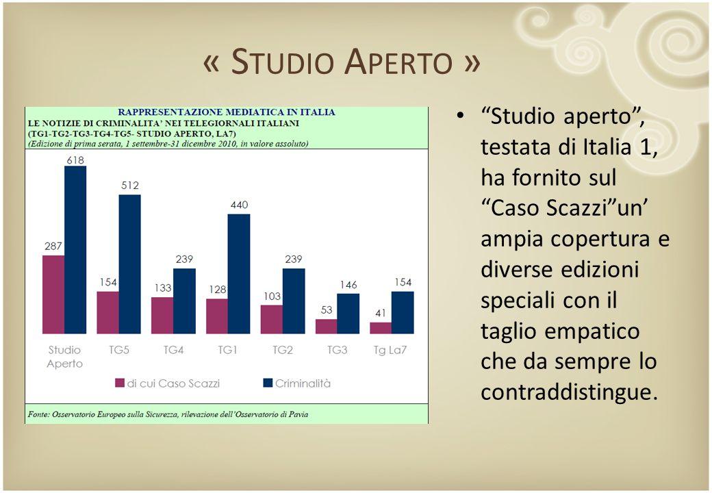 """« S TUDIO A PERTO » """"Studio aperto"""", testata di Italia 1, ha fornito sul """"Caso Scazzi""""un' ampia copertura e diverse edizioni speciali con il taglio em"""