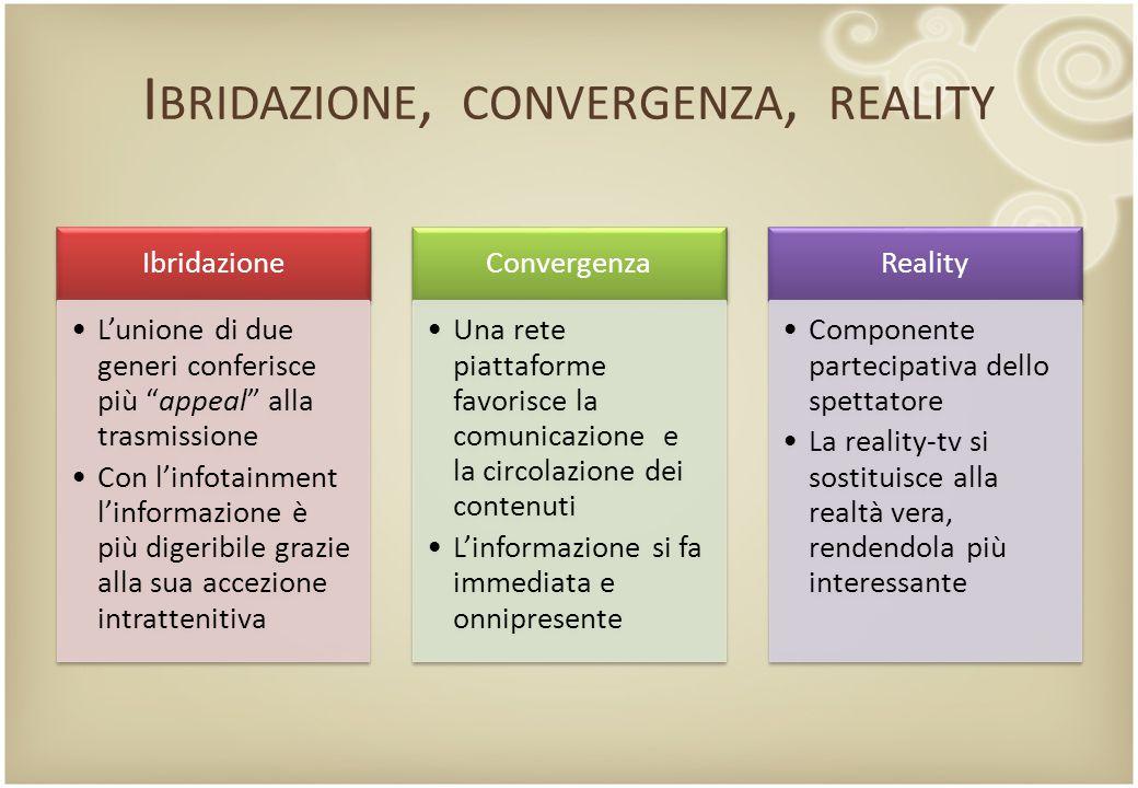 """I BRIDAZIONE, CONVERGENZA, REALITY Ibridazione L'unione di due generi conferisce più """"appeal"""" alla trasmissione Con l'infotainment l'informazione è pi"""