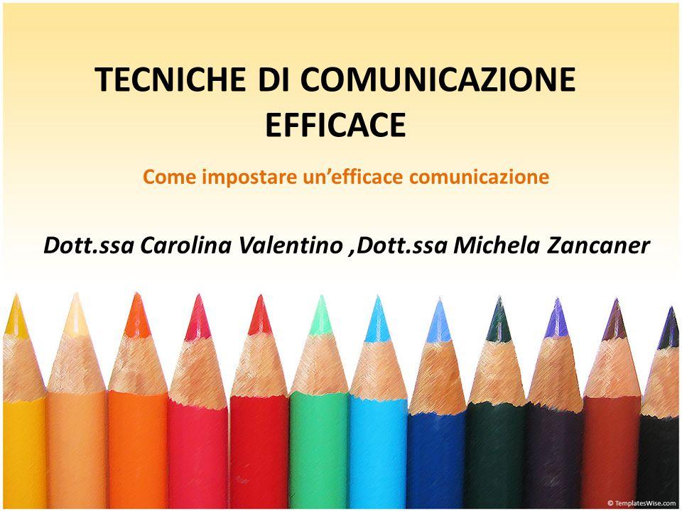 TECNICHE DI COMUNICAZIONE EFFICACE Come impostare un'efficace comunicazione Dott.ssa Carolina Valentino,Dott.ssa Michela Zancaner