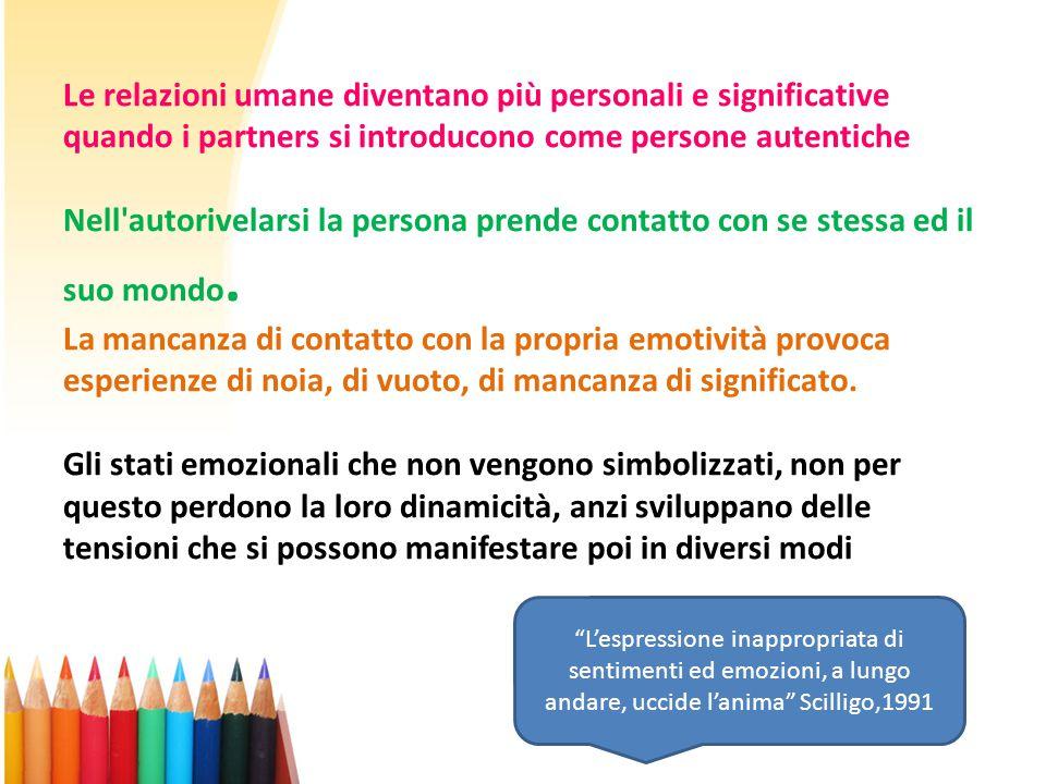 Le relazioni umane diventano più personali e significative quando i partners si introducono come persone autentiche Nell'autorivelarsi la persona pren