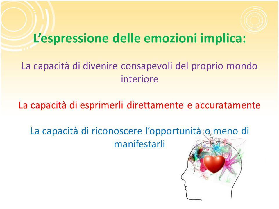 L'espressione delle emozioni implica: La capacità di divenire consapevoli del proprio mondo interiore La capacità di esprimerli direttamente e accurat