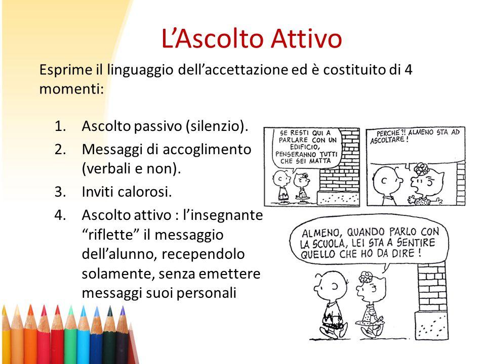 """L'Ascolto Attivo 1.Ascolto passivo (silenzio). 2.Messaggi di accoglimento (verbali e non). 3.Inviti calorosi. 4.Ascolto attivo : l'insegnante """"riflett"""