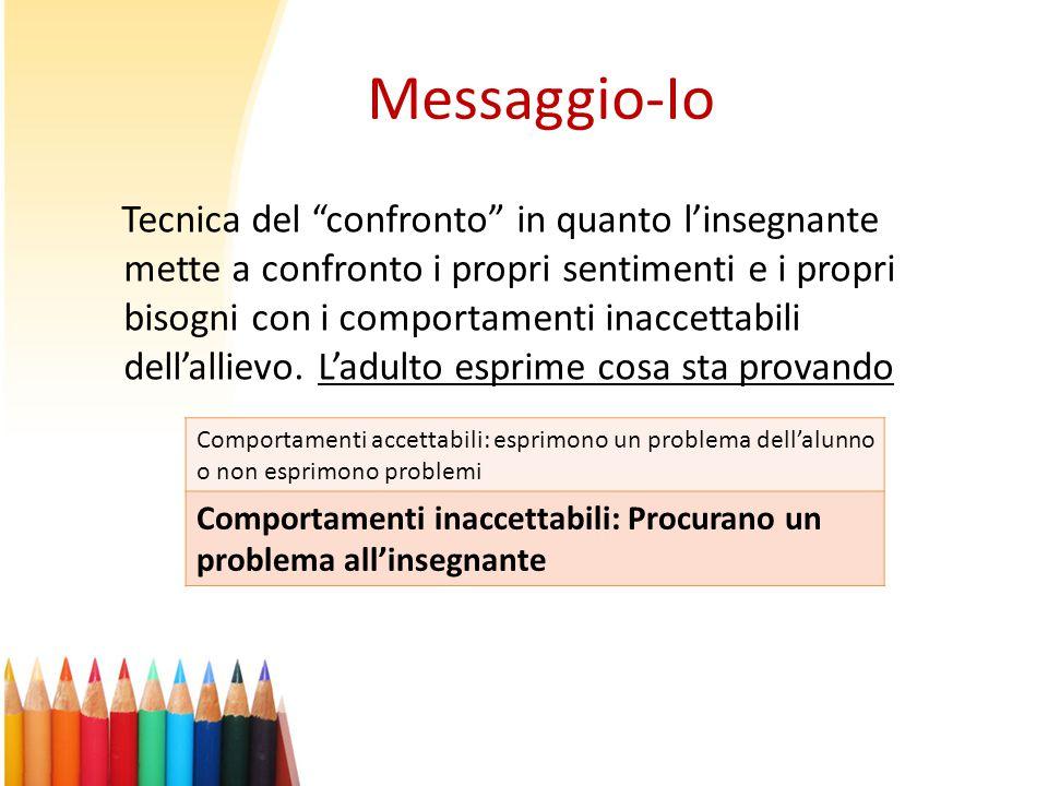 """Messaggio-Io Tecnica del """"confronto"""" in quanto l'insegnante mette a confronto i propri sentimenti e i propri bisogni con i comportamenti inaccettabili"""