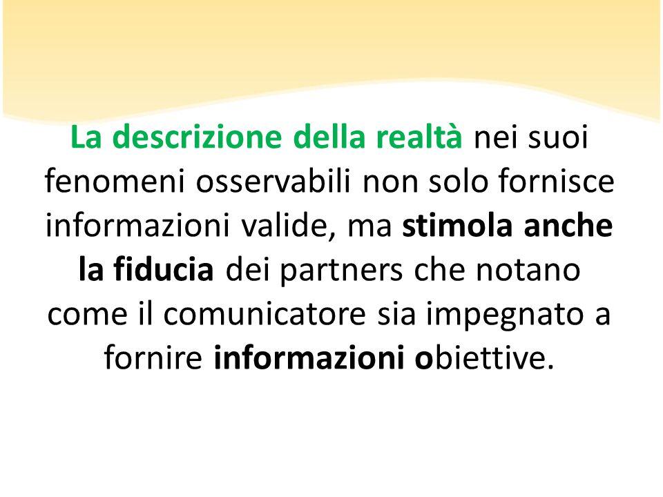 La descrizione della realtà nei suoi fenomeni osservabili non solo fornisce informazioni valide, ma stimola anche la fiducia dei partners che notano c