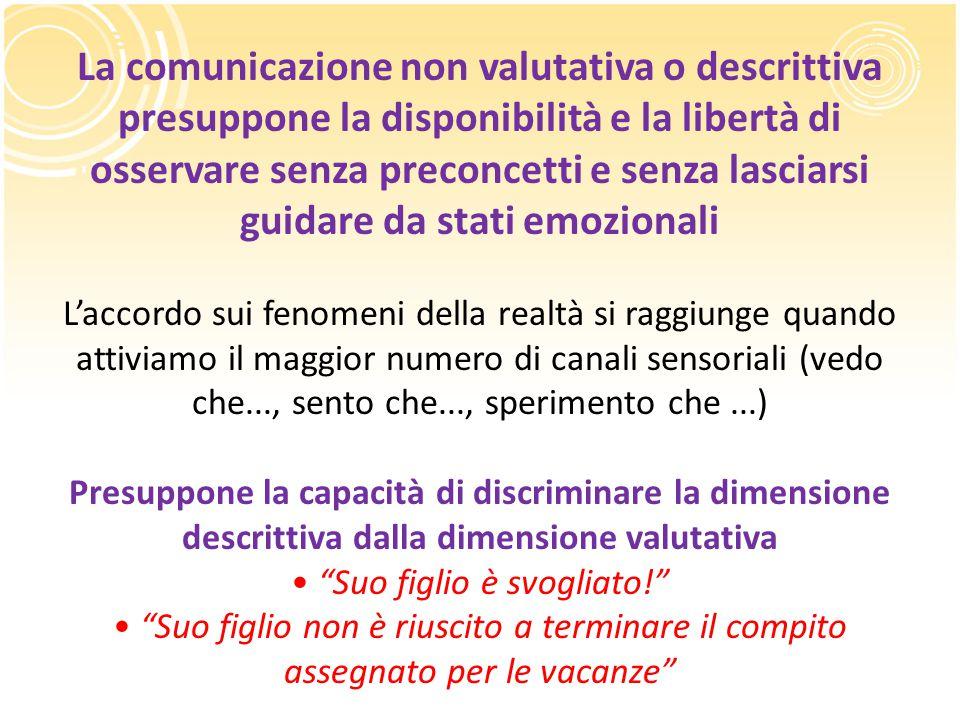 La comunicazione non valutativa o descrittiva presuppone la disponibilità e la libertà di osservare senza preconcetti e senza lasciarsi guidare da sta