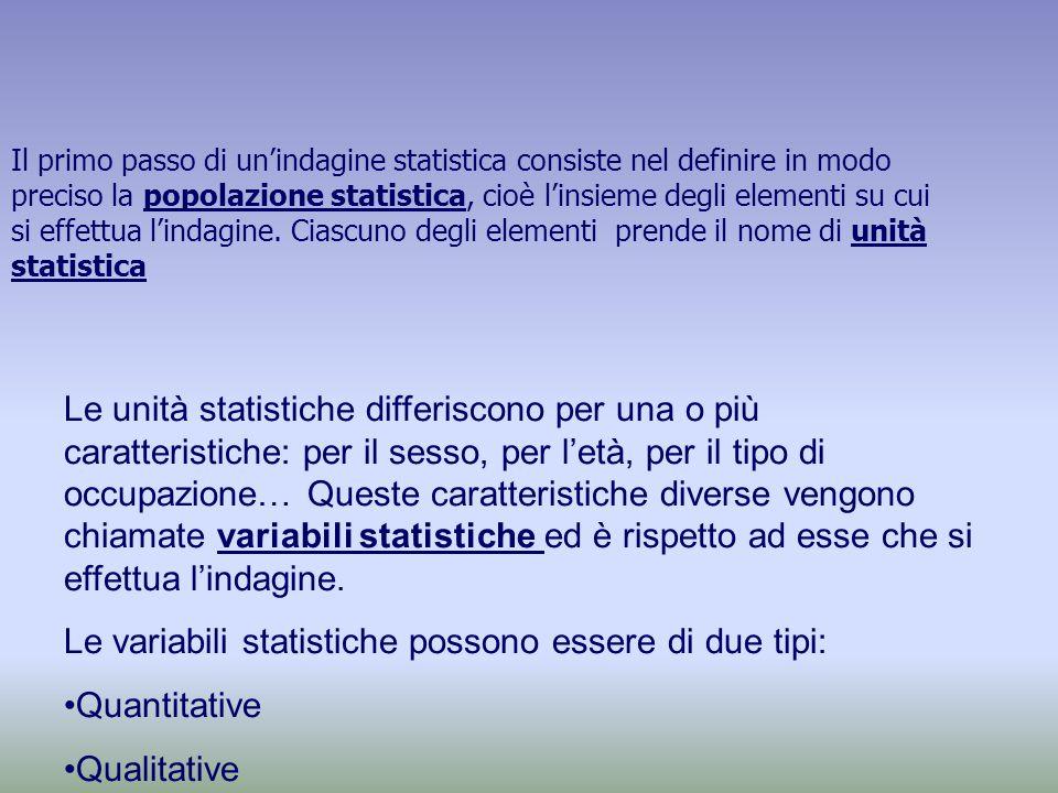 Il primo passo di un'indagine statistica consiste nel definire in modo preciso la popolazione statistica, cioè l'insieme degli elementi su cui si effettua l'indagine.