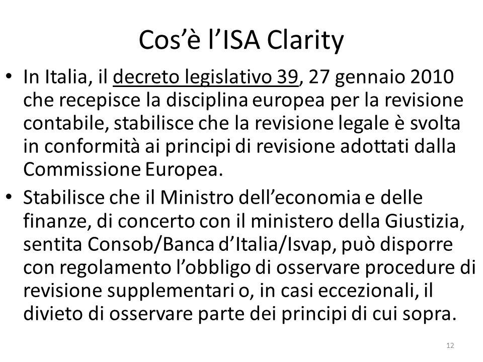 Cos'è l'ISA Clarity In Italia, il decreto legislativo 39, 27 gennaio 2010 che recepisce la disciplina europea per la revisione contabile, stabilisce c