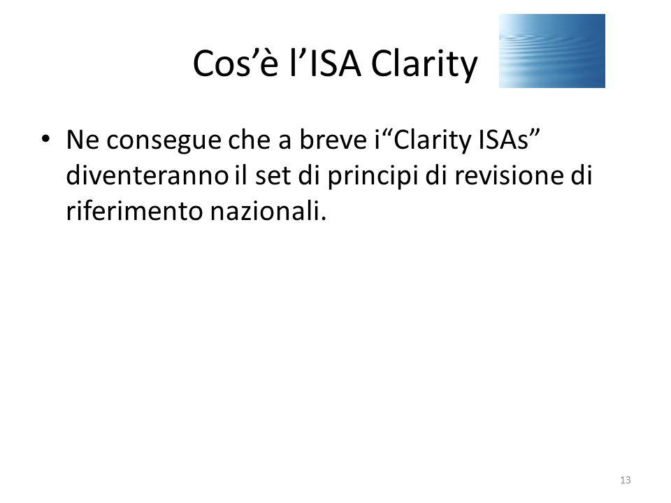 """Cos'è l'ISA Clarity Ne consegue che a breve i""""Clarity ISAs"""" diventeranno il set di principi di revisione di riferimento nazionali. 13"""