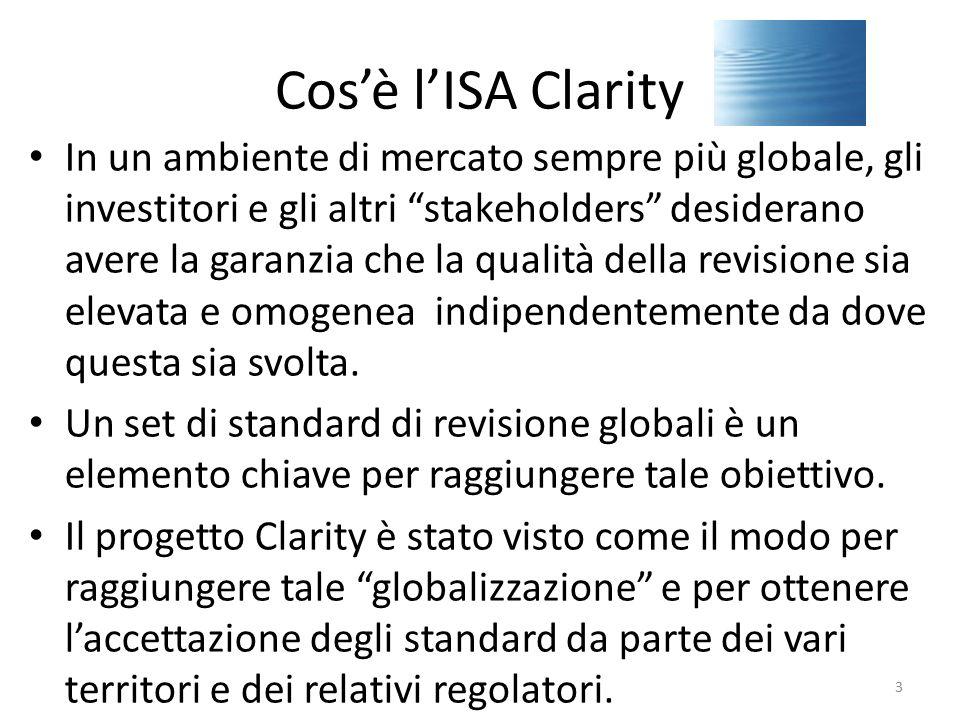 Cos'è l'ISA Clarity Dal 2005 l'International Auditing and Assurance Standard Board (IAASB,organo dell'IFAC) ha avviato il progetto di semplificazione e chiarificazione degli International Standard on Auditing (ISAs).