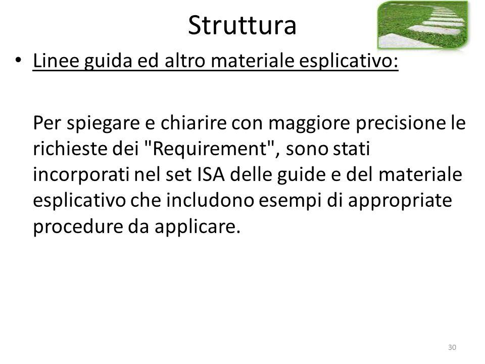 Struttura Linee guida ed altro materiale esplicativo: Per spiegare e chiarire con maggiore precisione le richieste dei