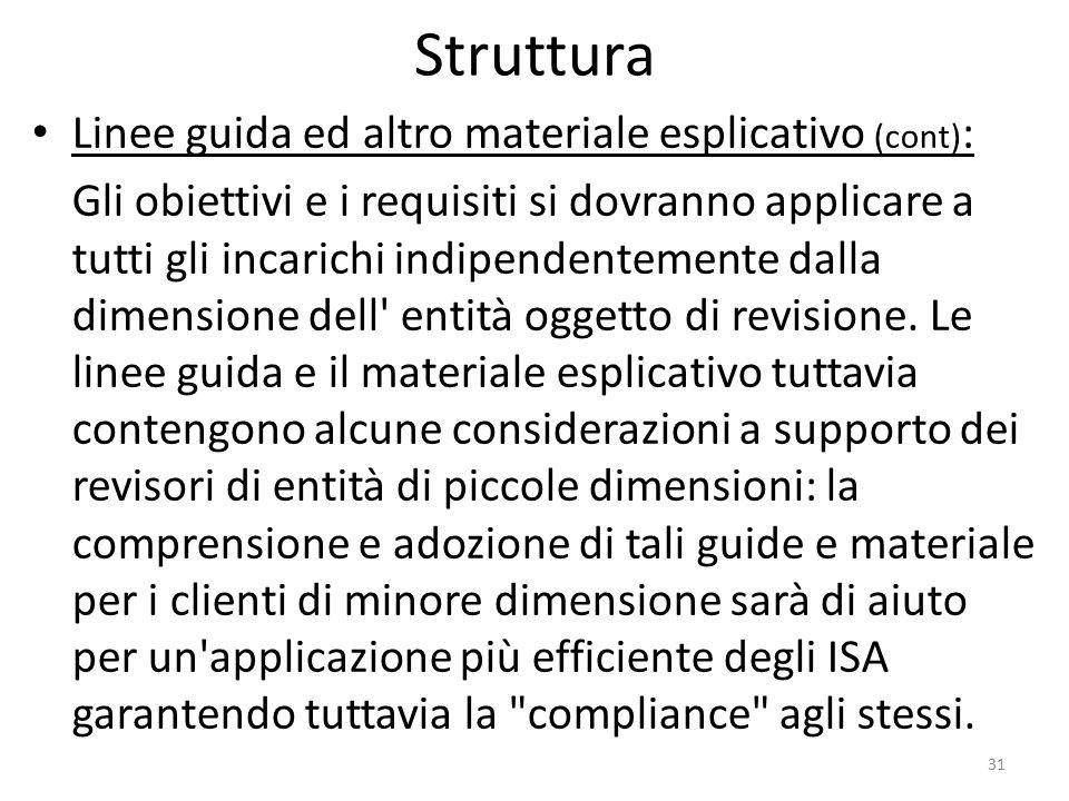Struttura Linee guida ed altro materiale esplicativo (cont) : Gli obiettivi e i requisiti si dovranno applicare a tutti gli incarichi indipendentement