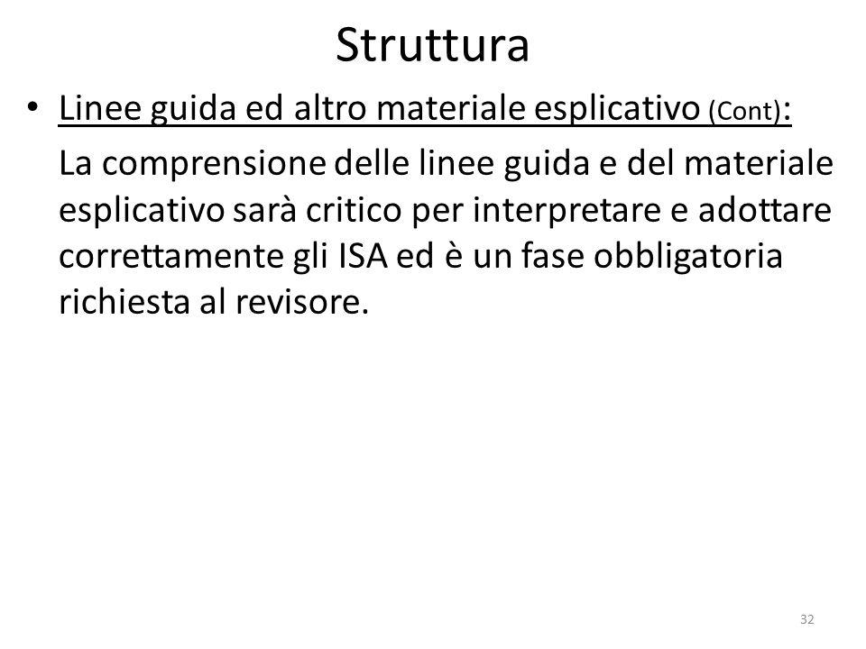 Struttura Linee guida ed altro materiale esplicativo (Cont) : La comprensione delle linee guida e del materiale esplicativo sarà critico per interpret