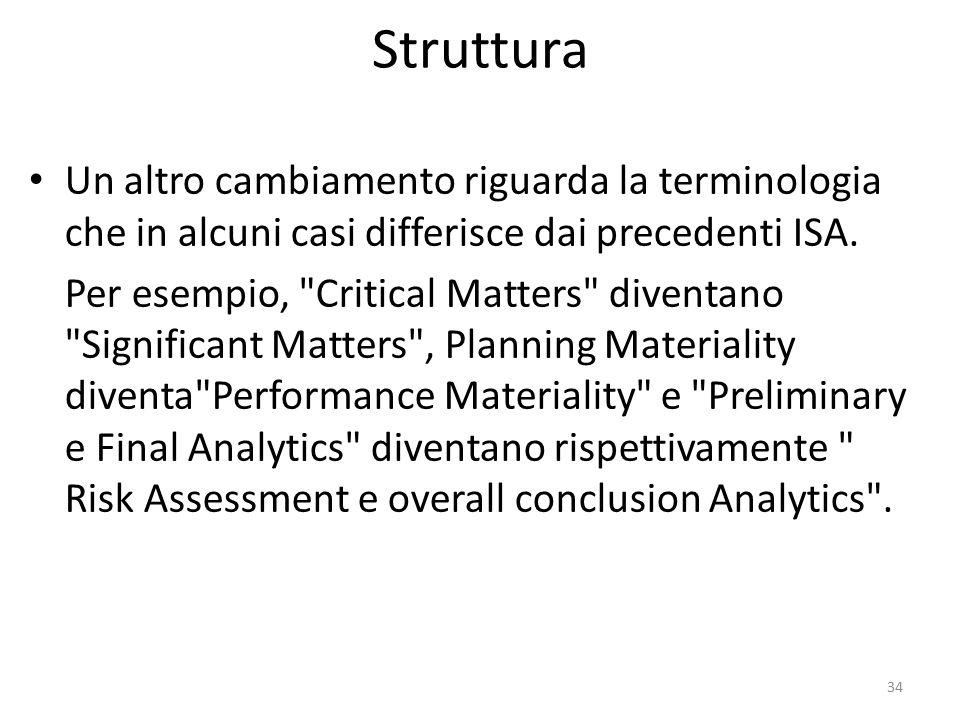 Struttura Un altro cambiamento riguarda la terminologia che in alcuni casi differisce dai precedenti ISA. Per esempio,