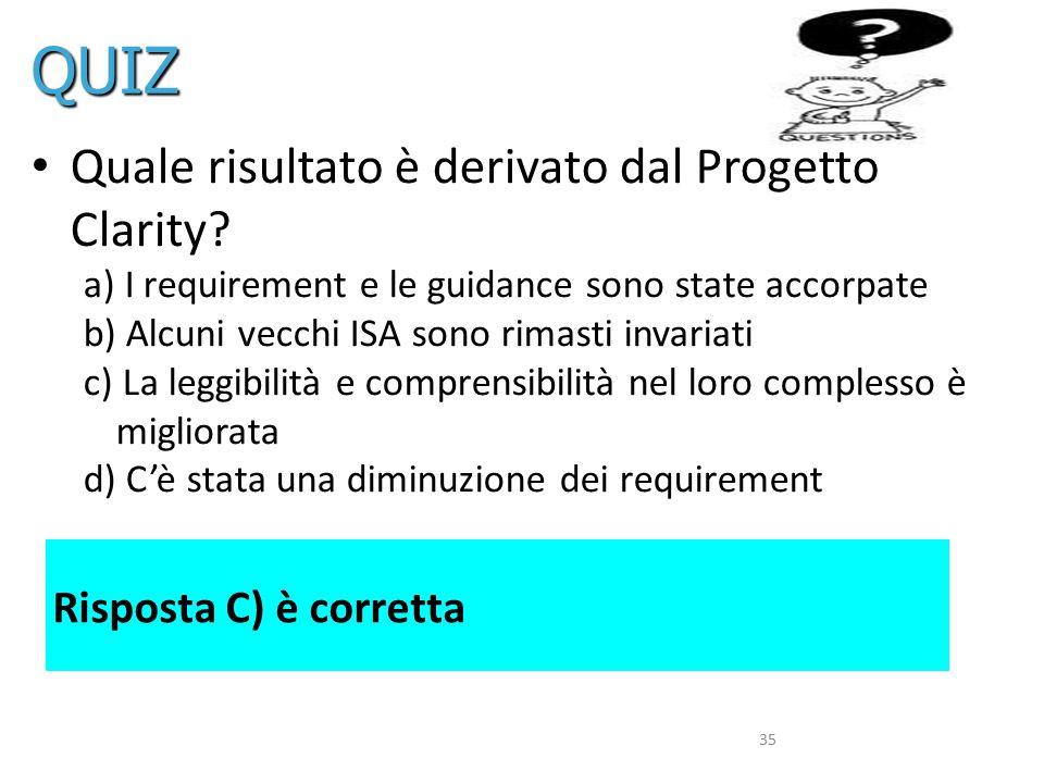 35 Quale risultato è derivato dal Progetto Clarity? a) I requirement e le guidance sono state accorpate b) Alcuni vecchi ISA sono rimasti invariati c)