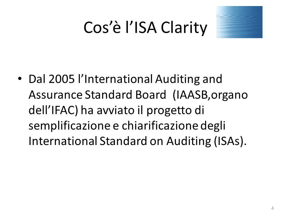 Cos'è l'ISA Clarity I precedenti 34 ISAs sono stati tutti modificati in varia misura: – tutti redrafted in base a un nuovo formato standard – 15 sostanzalmente modificati revised anche con l'introduzione di nuove e ulteriori regole obbligatorie – 2 nuovi emessi (ISA 265, ISA 450) – ISQC1 anch'esso Redrafted dopo essere stato revised nel 2006 15
