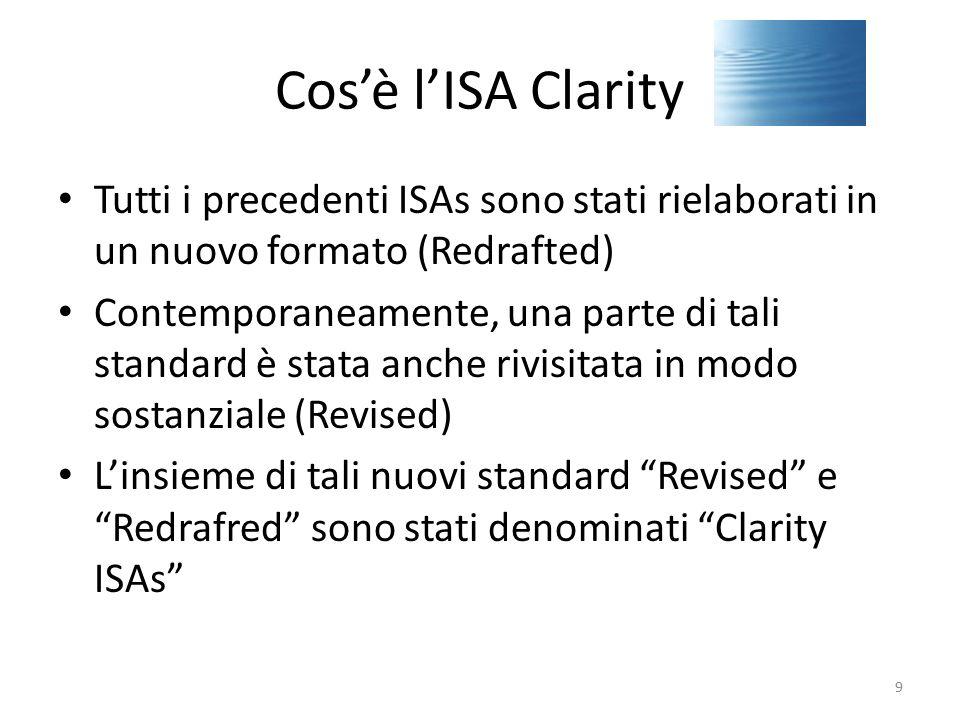 Cos'è l'ISA Clarity Tutti i precedenti ISAs sono stati rielaborati in un nuovo formato (Redrafted) Contemporaneamente, una parte di tali standard è st