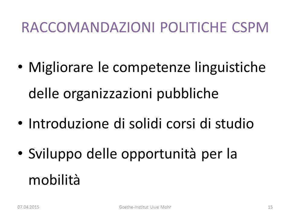 RACCOMANDAZIONI POLITICHE CSPM Migliorare le competenze linguistiche delle organizzazioni pubbliche Introduzione di solidi corsi di studio Sviluppo delle opportunità per la mobilità 07.04.2015Goethe-Institut Uwe Mohr15