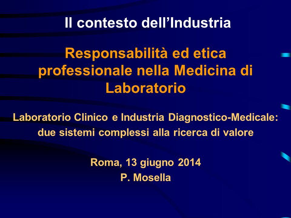 Il contesto dell'Industria Laboratorio Clinico e Industria Diagnostico-Medicale: due sistemi complessi alla ricerca di valore Roma, 13 giugno 2014 P.