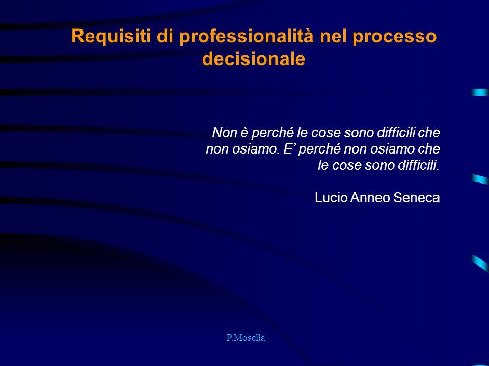 P.Mosella Requisiti di professionalità nel processo decisionale Non è perché le cose sono difficili che non osiamo. E' perché non osiamo che le cose s