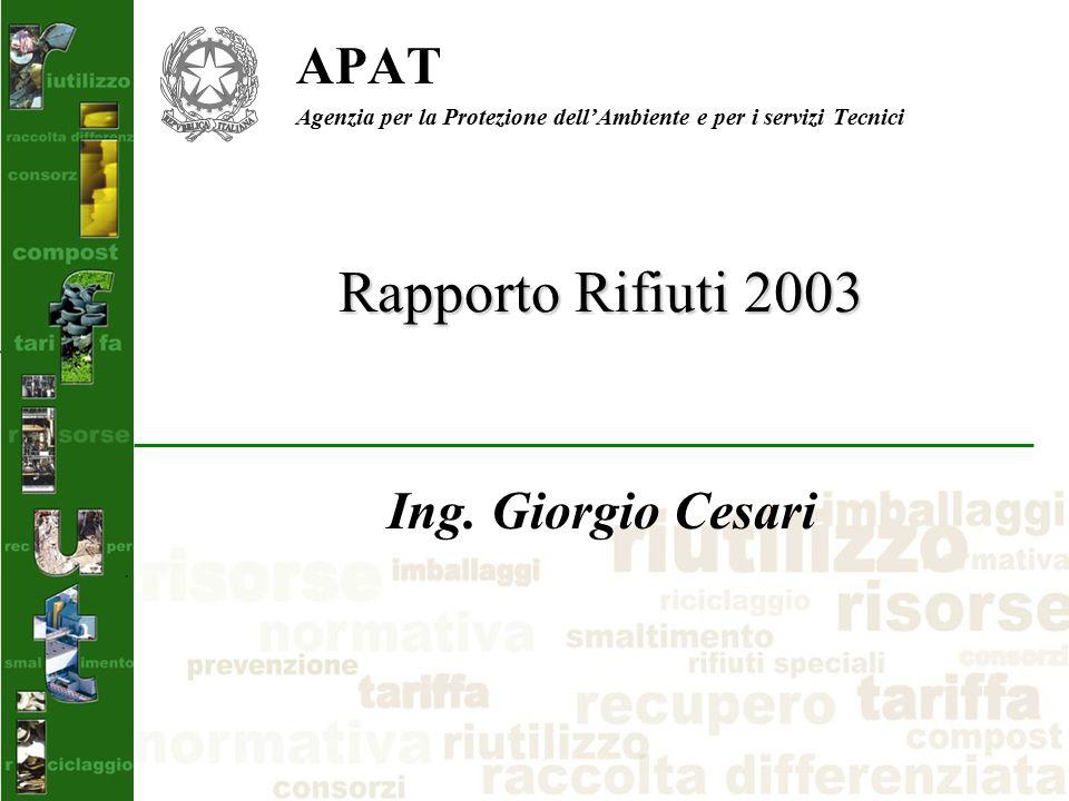 Rapporto Rifiuti 2003 APAT Agenzia per la Protezione dell'Ambiente e per i servizi Tecnici Ing.