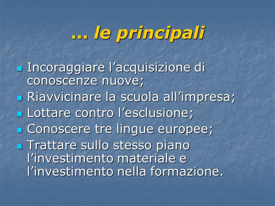 … non siamo ancora riusciti a creare lo spazio europeo dell'istruzione Scopo principale: qualità dell'istruzione