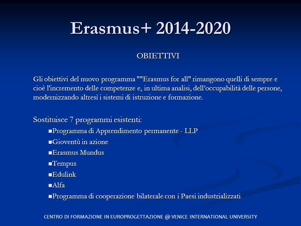 Erasmus+ 2014-2020 OBIETTIVI Gli obiettivi del nuovo programma