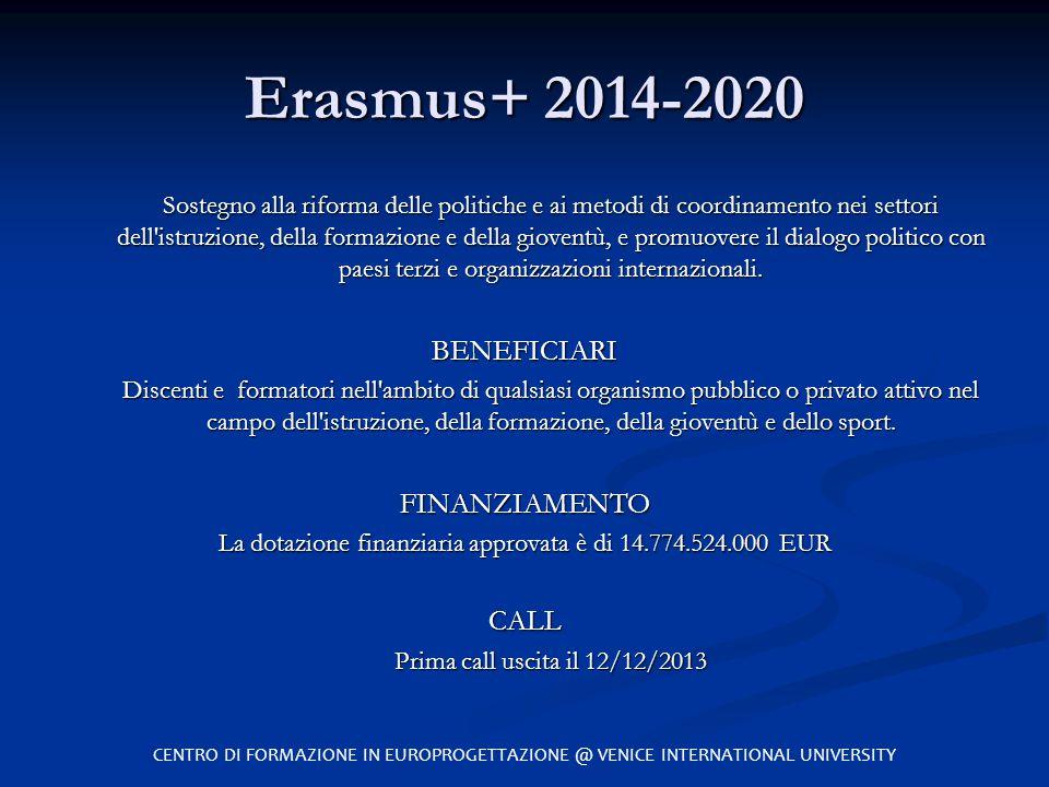 Erasmus+ 2014-2020 Sostegno alla riforma delle politiche e ai metodi di coordinamento nei settori dell'istruzione, della formazione e della gioventù,