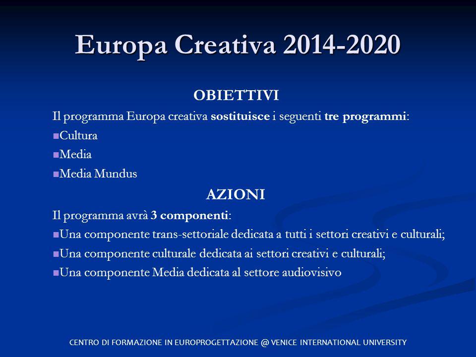 Europa Creativa 2014-2020 OBIETTIVI Il programma Europa creativa sostituisce i seguenti tre programmi: Cultura Media Media Mundus AZIONI Il programma