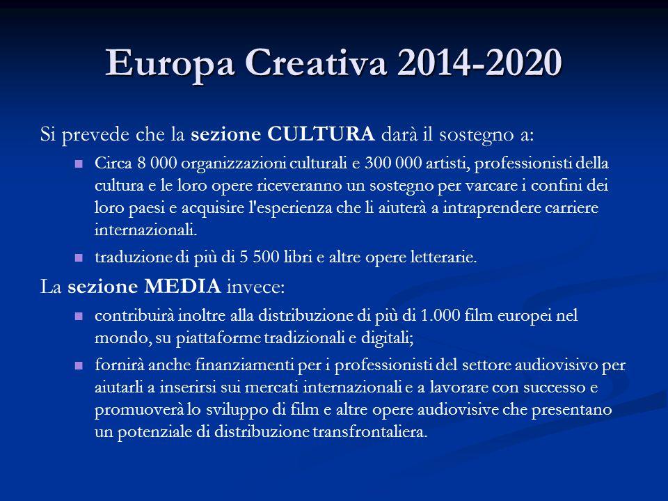 Europa Creativa 2014-2020 Si prevede che la sezione CULTURA darà il sostegno a: Circa 8 000 organizzazioni culturali e 300 000 artisti, professionisti