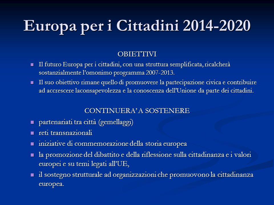 Europa per i Cittadini 2014-2020 OBIETTIVI Il futuro Europa per i cittadini, con una struttura semplificata, ricalcherà sostanzialmente l'omonimo prog