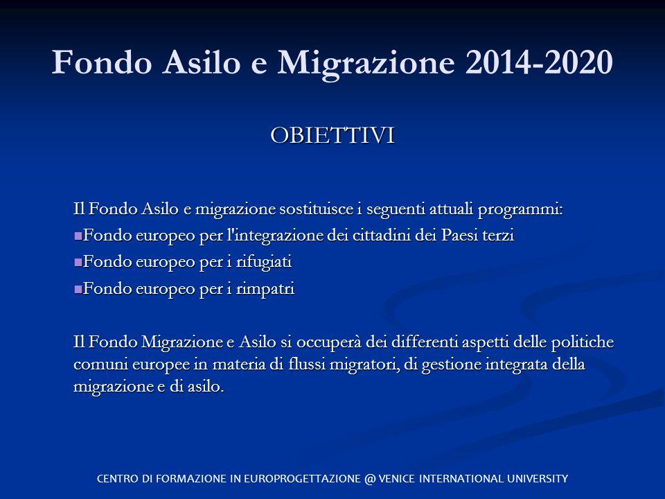 Fondo Asilo e Migrazione 2014-2020 OBIETTIVI Il Fondo Asilo e migrazione sostituisce i seguenti attuali programmi: Fondo europeo per l'integrazione de