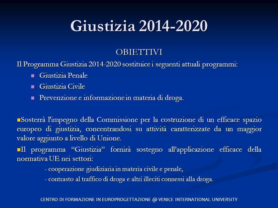 Giustizia 2014-2020 OBIETTIVI Il Programma Giustizia 2014-2020 sostituice i seguenti attuali programmi: Giustizia Penale Giustizia Penale Giustizia Ci
