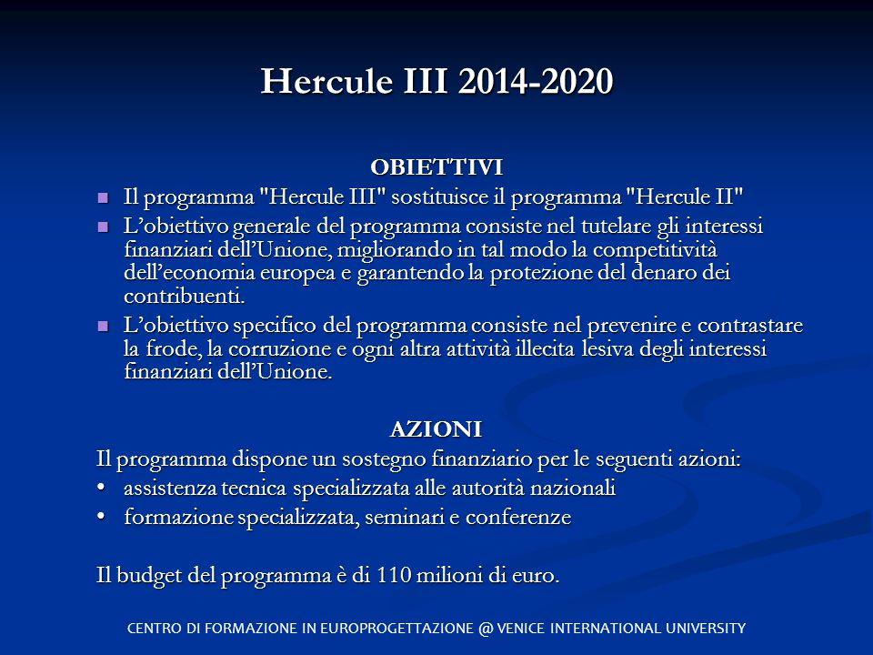 Hercule III 2014-2020 OBIETTIVI Il programma