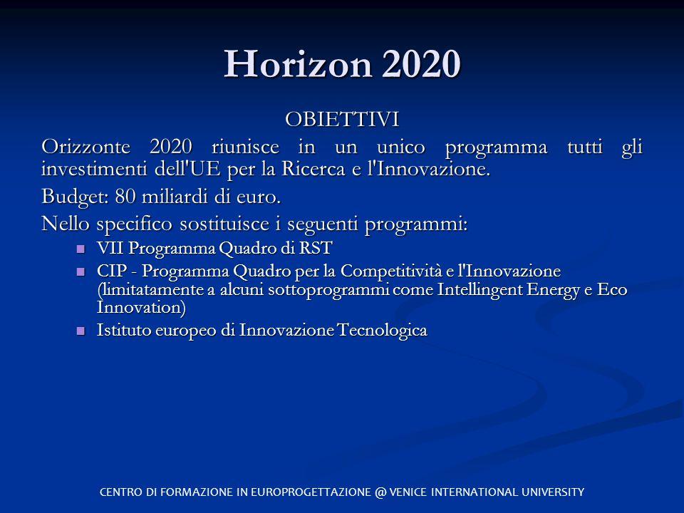 Horizon 2020 OBIETTIVI Orizzonte 2020 riunisce in un unico programma tutti gli investimenti dell'UE per la Ricerca e l'Innovazione. Budget: 80 miliard