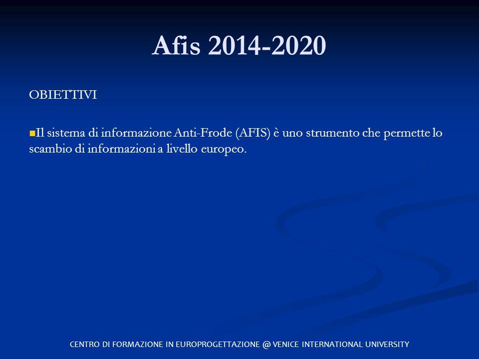 Afis 2014-2020 OBIETTIVI Il sistema di informazione Anti-Frode (AFIS) è uno strumento che permette lo scambio di informazioni a livello europeo. CENTR