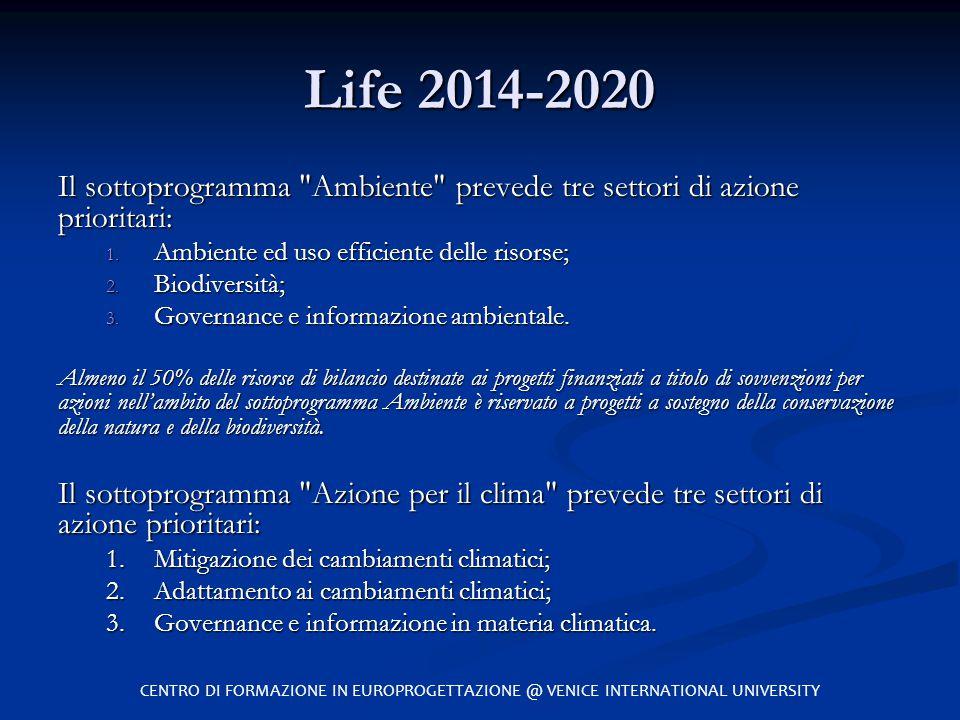 Life 2014-2020 Il sottoprogramma