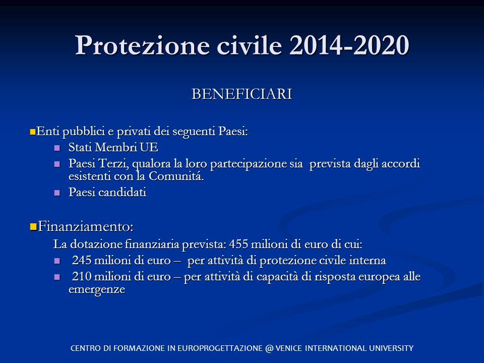 Protezione civile 2014-2020 BENEFICIARI Enti pubblici e privati dei seguenti Paesi: Enti pubblici e privati dei seguenti Paesi: Stati Membri UE Stati