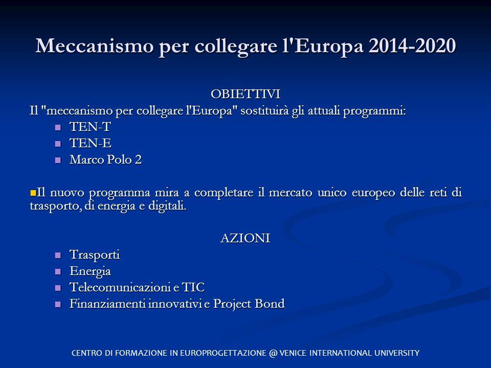 Meccanismo per collegare l'Europa 2014-2020 OBIETTIVI Il