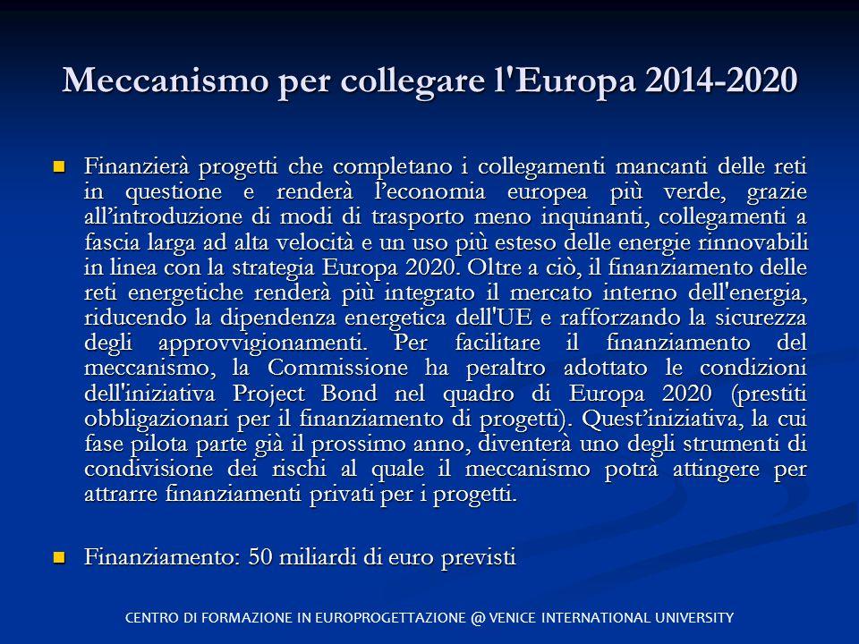 Meccanismo per collegare l'Europa 2014-2020 Finanzierà progetti che completano i collegamenti mancanti delle reti in questione e renderà l'economia eu