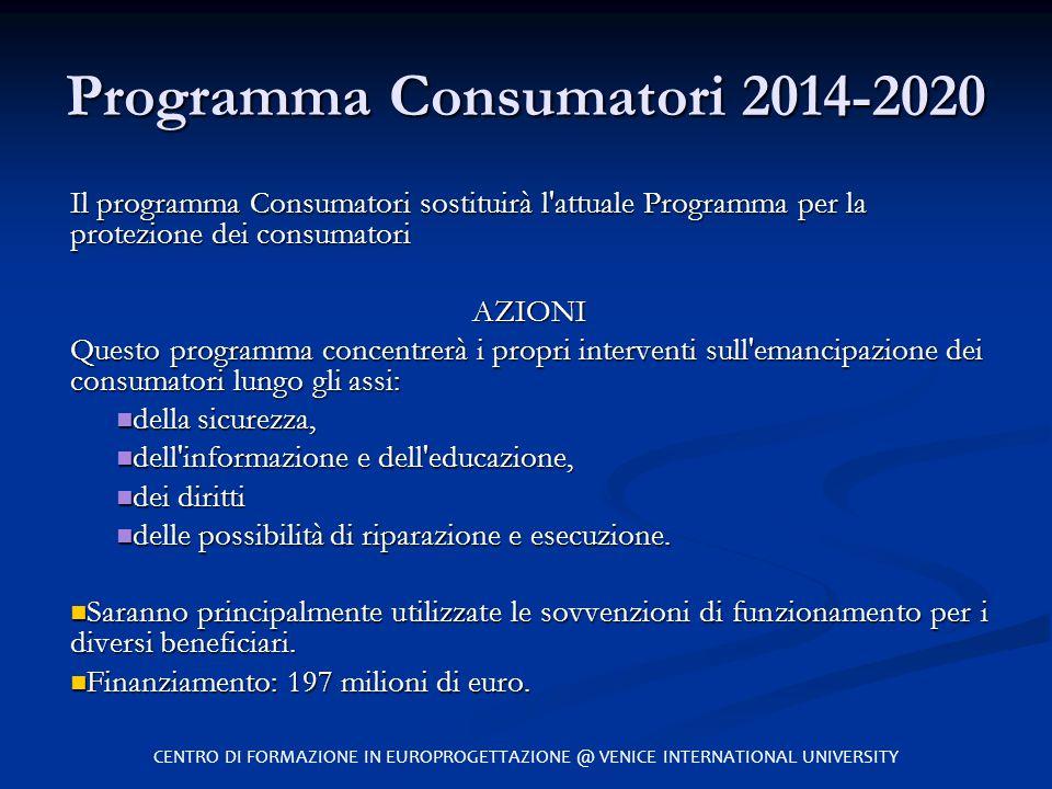 Programma Consumatori 2014-2020 Il programma Consumatori sostituirà l'attuale Programma per la protezione dei consumatori AZIONI Questo programma conc