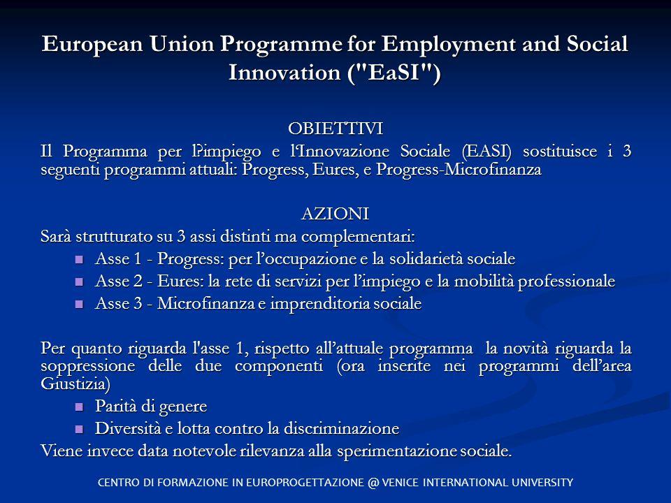 OBIETTIVI Il Programma per l?impiego e l'Innovazione Sociale (EASI) sostituisce i 3 seguenti programmi attuali: Progress, Eures, e Progress-Microfinan